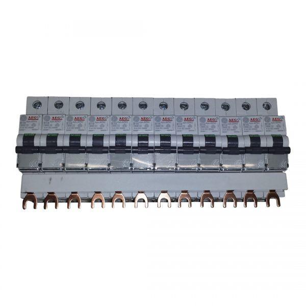 12x GE B16A Leitungsschutzschalter 1polig 566504 + 3 phasige Sammelschiene 12 polig