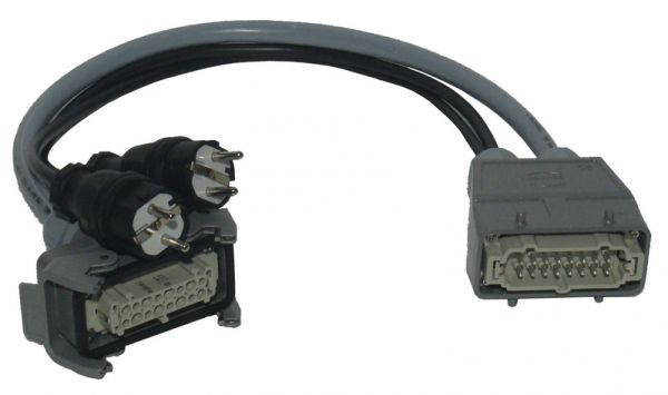 Adapter Harting ->1x Harting HAN16E female 2x Schuko Stecker Kanal 7+8