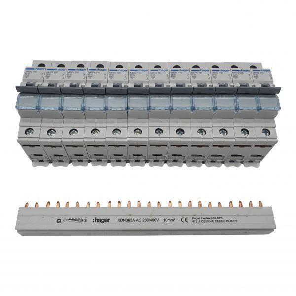 12x Leitungsschutzschalter B-Charakteristik 1polig MBN116 plus 3 phasige Sammelschiene