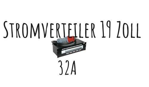 32A Stromverteiler 19'' mit RCD; 1x CEE32, 1x CEE16, 6x Schuko